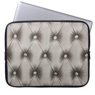 Laptop Sleeve with silver gray capitone