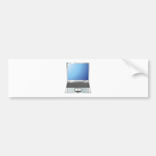 Laptop straight on illustration bumper stickers