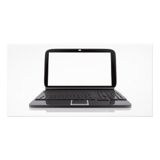 Laptop with blank screen customized photo card