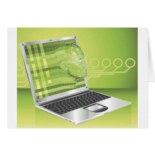 Laptop woman concept background Illustration Cards