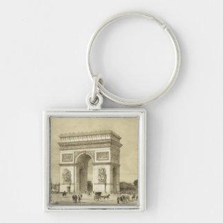 L'Arc de Triomphe, Paris, engraved by Auguste Bry Silver-Colored Square Key Ring