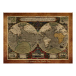 "Large ""1595 World Map of Hondius"" Historic Map Posters"