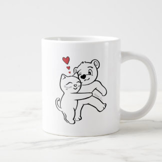 Large 20 Ounce Mug Cat Loves Bear Hug Hearts