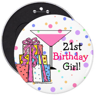 Large- 21st Birthday Girl 6 Cm Round Badge