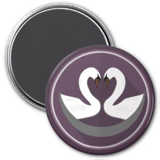 Large, 3 Inch Round Magnet LOVE SWANS
