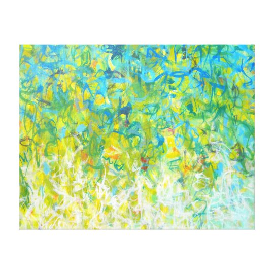 Large Abstract Turquoise Yellow Green White Canvas