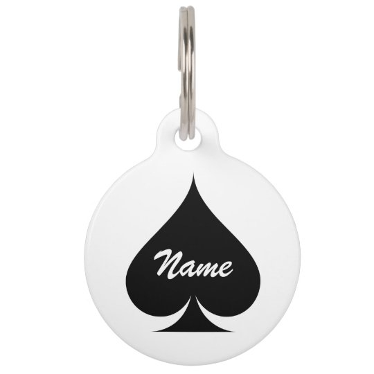 Large ace of spades name pet tag for