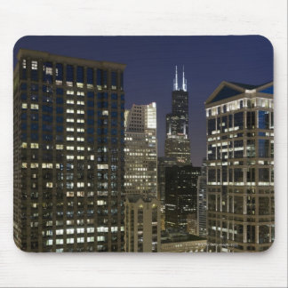 Large aerial view of downtown Chicago at dusk. Mouse Mat