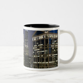 Large aerial view of downtown Chicago at dusk. Two-Tone Coffee Mug
