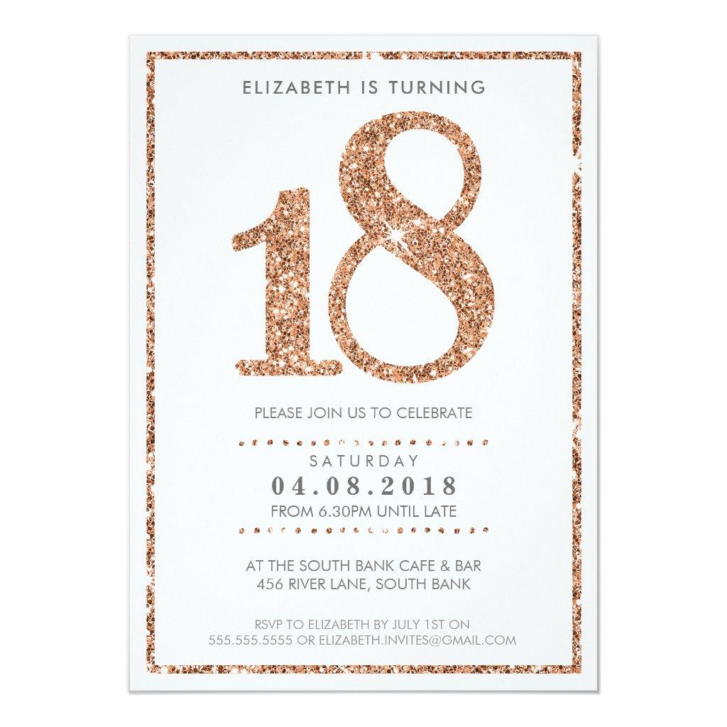 LARGE AGE NUMBER INVITE glam 18 rose gold glitter