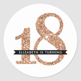 LARGE AGE NUMBER INVITE glam 18 rose gold glitter Round Sticker