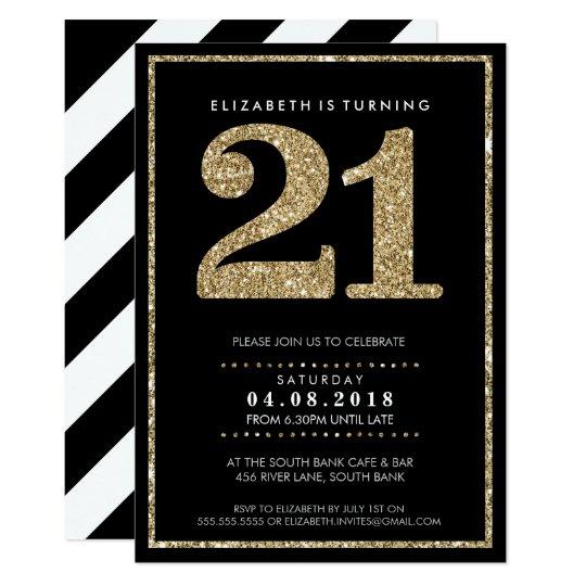 LARGE AGE NUMBER INVITE modern 21 gold glitter