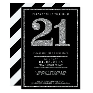 LARGE AGE NUMBER INVITE modern 21 silver glitter
