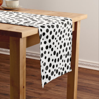 Large and Small Black Polka Dots on White Short Table Runner