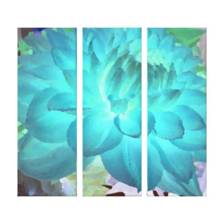 Large Aqua Blue Dahlia Gallery Wrapped Canvas