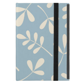 Large Assorted Cream Leaves on Blue Design iPad Mini Cover
