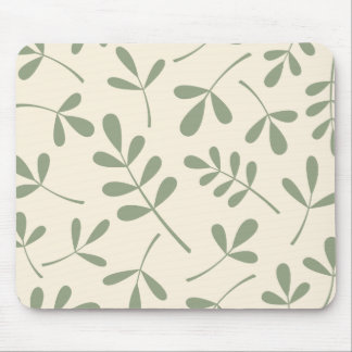 Large Assorted Green Leaves on Cream Design Mouse Mat