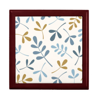 Large Assorted Leaves Blues & Gold on Cream Gift Box