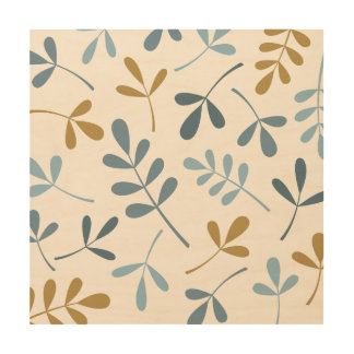 Large Assorted Leaves Blues & Gold on Cream Wood Print