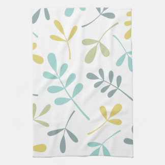 Large Assorted Leaves Color Mix on White Tea Towel