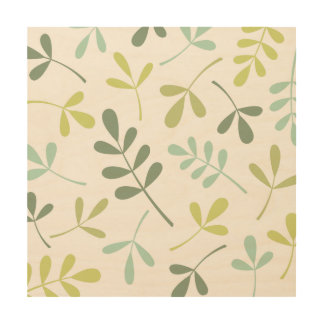 Large Assorted Leaves Green Mix Wood Print
