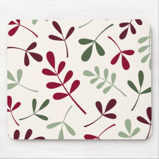 Large Assorted Leaves Reds & Greens on Cream Mouse Pad