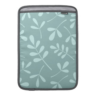 Large Assorted Light on Mid Teal Leaves Design Sleeve For MacBook Air