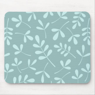 Large Assorted Light on Mid Teal Leaves Pattern Mouse Mat