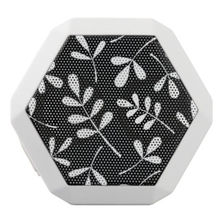 Large Assorted White Leaves on Black Design White Bluetooth Speaker
