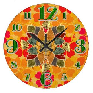 Large Autumn Hibiscus Wall Clock