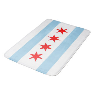 Large bath mat with flag of Chicago, USA