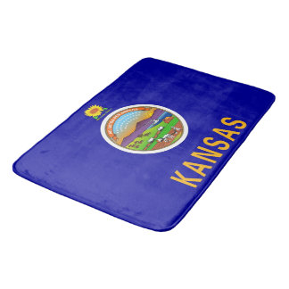 Large bath mat with flag of Kansas, USA