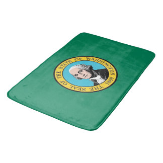 Large bath mat with flag of Washington, USA