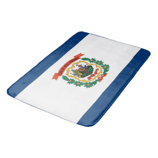 Large bath mat with flag of West Virginia, USA