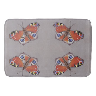 Large Bath Mat with Peacock Butterfly Design