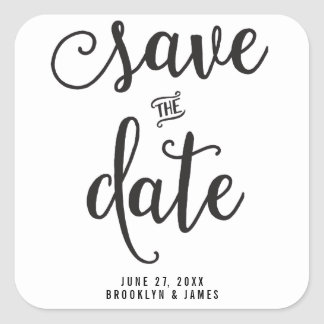 Large Black And White Save The Date Stickers