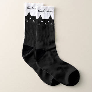 Large Black Cat Love Cute Black Cat Socks