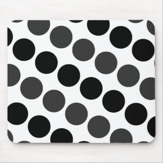 Large Black Dark Gray and White Polka Dots Mouse Pad