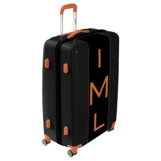 LARGE Black + Orange Personalized Monogram Luggage