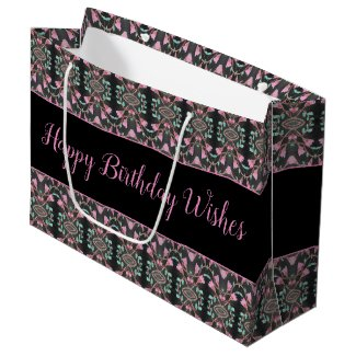 Large Black Pink And Teal Paper Birthday Gift Bag