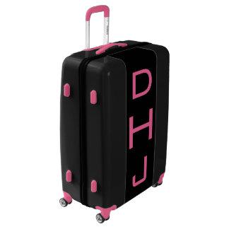 LARGE Black + Pink Personalized Monogram Luggage