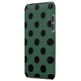 Large black polka dots on dark green barely there iPod case