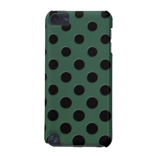 Large black polka dots on dark green iPod touch 5G cases