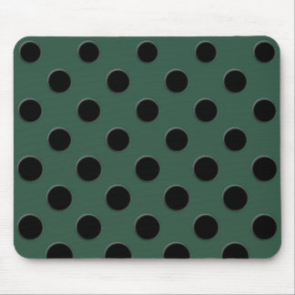 Large black polka dots on dark green mouse pad