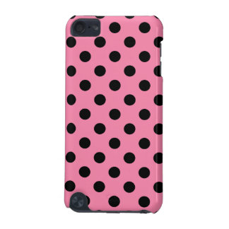 Large Black Polka Dots on hot pink iPod Touch (5th Generation) Cases
