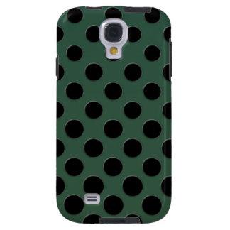 Large black polka dots on velvet green galaxy s4 case