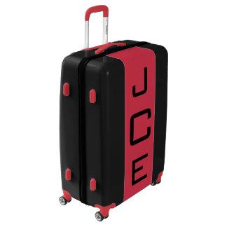 LARGE Black + Red Monogrammed Luggage