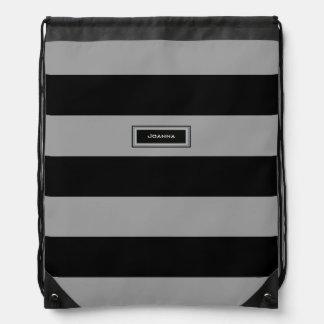 large black stripes with name drawstring bag