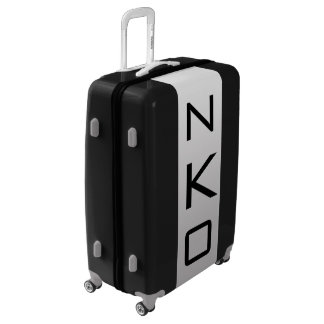 LARGE Black + White-Gray Ombre Monogram Luggage