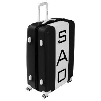 LARGE Black + White Monogrammed Luggage